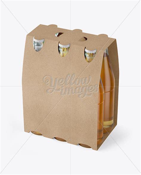 kraft paper  pack beer bottle carrier mockup  view