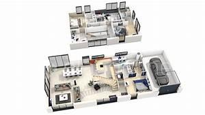 plan 3d maison a etage With wonderful construire sa maison 3d 5 plan maison 90m2 3d