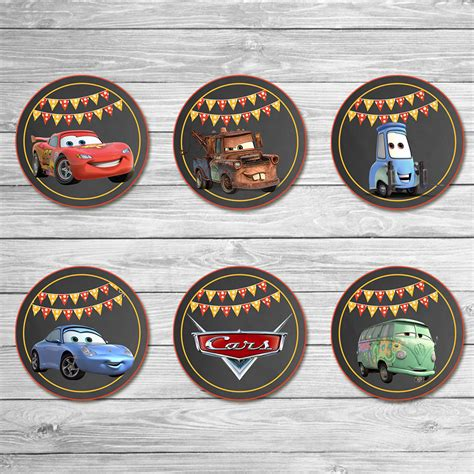 disney cars cupcake toppers chalkboard cars stickers