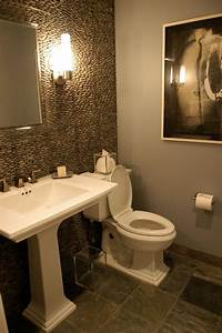 Cool Grey Wood Grain Tiles Wall Accent Small Powder Room