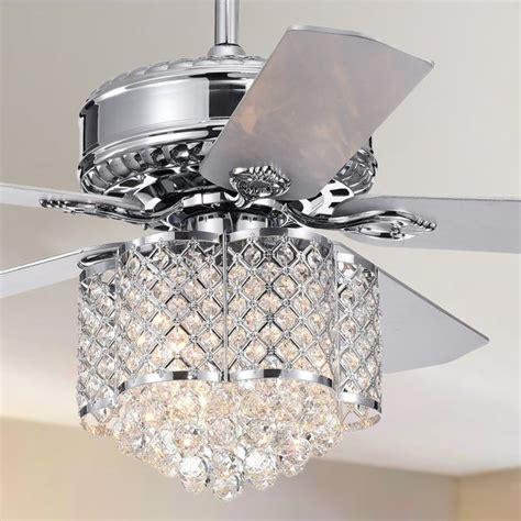fan with chandelier shop deidor 5 blade 52 inch chrome ceiling fan with 3