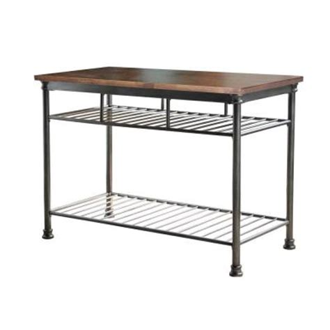metal kitchen island home styles orleans butcher black carmel kitchen island in gun metal 5061 94 the home depot