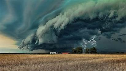 Storm Farm Lightning Clouds Field Supercell Landscape