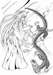 The girl and the dragon (Anime/Manga Line Art) by Aoi ...