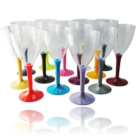 verre  vin plastique pas cher avec pied couleur