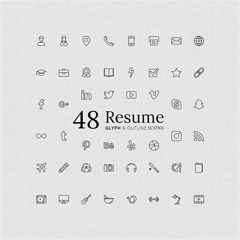 11916 resume icons vector resume glyph outline icon set in vector and png for 72