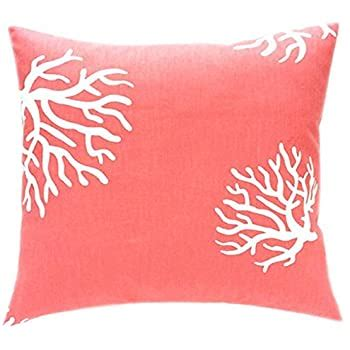 amazoncom solid color coral throw pillow cover cottons     sofa  bedroom  home