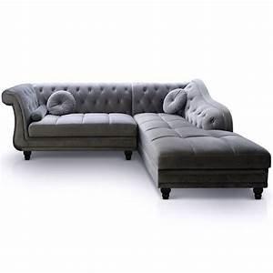 Canape d39angle velours chesterfield pas cher british deco for Tapis moderne avec canape d angle chesterfield velours
