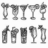 Cocktail Drawing Sketch Hand Vector Premium sketch template