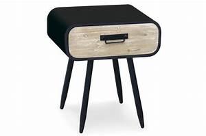 Table De Chevet Metal : table de chevet m tal noir 1 tiroir styan design sur sofactory ~ Melissatoandfro.com Idées de Décoration