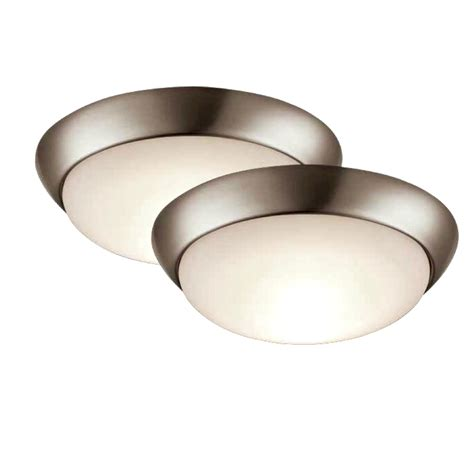 brushed nickel flush mount ceiling light shop project source 2 pack 11 in w brushed nickel led
