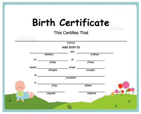 birth certificate templates   examples