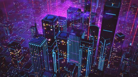 cityscape neon  retro wave hd wallpapers desktop