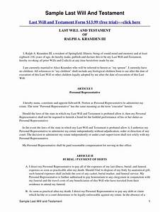 Sample last will and testament for Joint will and testament template