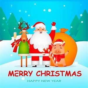 Funny, Santa, Claus, Pig, And, Deer, Stock, Vector