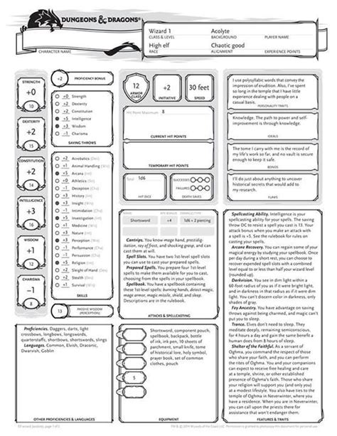 dungeons  dragons character sheet templates