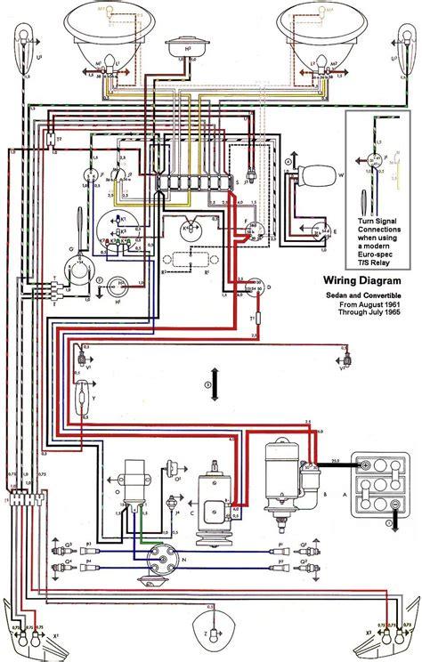 wiring diagram vw beetle sedan and convertible 1961 1965
