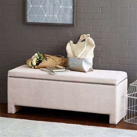 west elm storage bench nailhead upholstered storage bench west elm