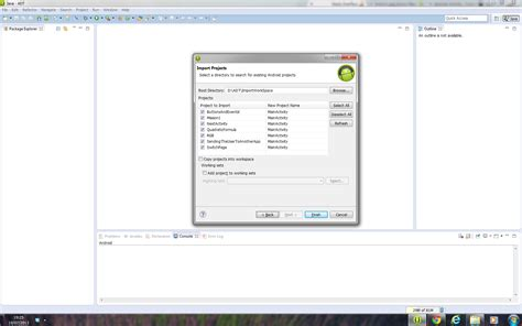 why cant i apps on my android android why i can t import existing project to eclipse
