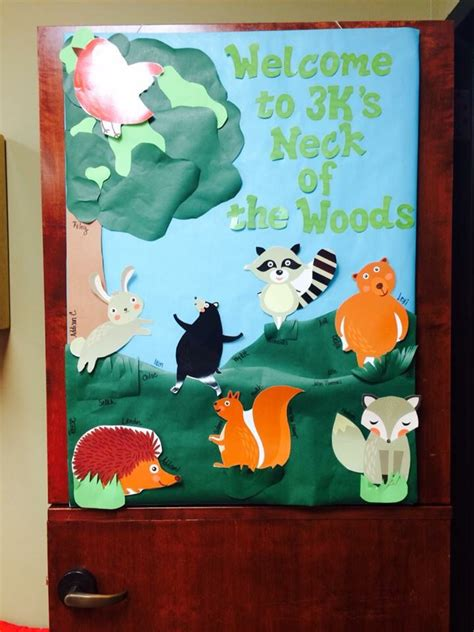 forest preschool theme woodland classroom door my preschool classroom 802