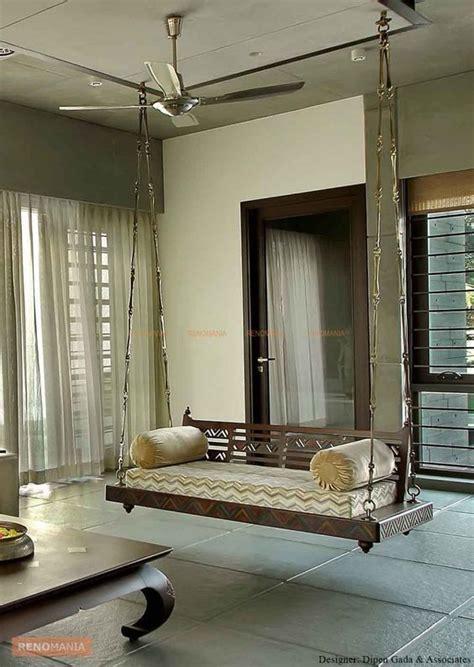 indian handmade love seat wooden ceiling swing  metal