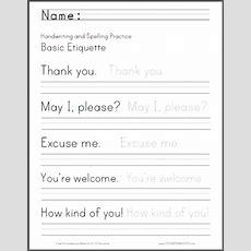 Basic Etiquette Handwriting Worksheet  Student Handouts