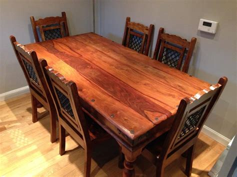 dark wood dining table and 6 chairs for sale united