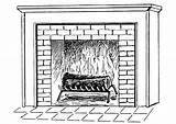 Fireplace Coloring Printable Pages Fire sketch template