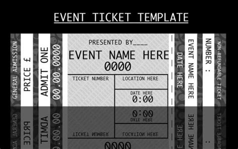 admission ticket template modern admission ticket template design in monochrome with event name and ticket number and