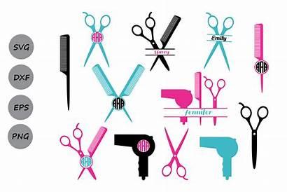 Svg Hairdresser Silhouette Hairstylist Monogram Cut Scissors