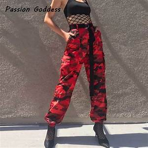 European Fashion Women Military Red Camo Cargo Pants HipHop Dance Red Camouflage Trousers Femme ...