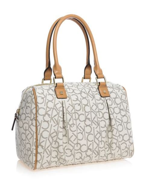 buy calvin klein womens hudson monogram satchel bag