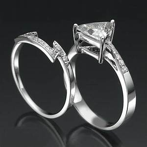 15 ct trillion diamond ring set 14k white gold women size With trillion wedding ring