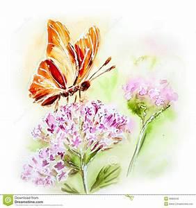 Blumen Bilder Gemalt : gemalte aquarellkarte mit blumen und schmetterling stock abbildung bild 39862040 ~ Orissabook.com Haus und Dekorationen