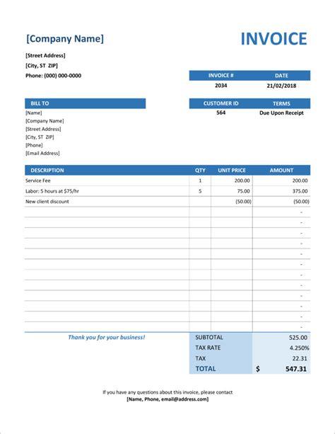 invoice templates  microsoft excel  docx formats