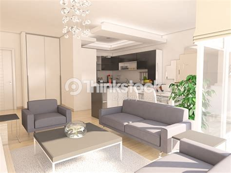 Living Room With American Kitchen by Modern Living Room With American Kitchen Stock Photo