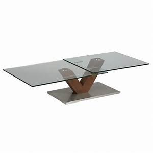 Table Basse Design Bois : table basse design verre et bois socle en acier milova 1265 cbc meubles ~ Teatrodelosmanantiales.com Idées de Décoration