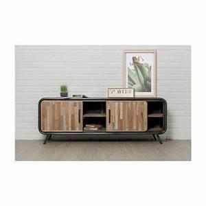 Meuble Tv 150 Cm : meuble tv bas 2 portes 2 niches industriel 150 cm benoit en teck massif recycl et m tal ~ Teatrodelosmanantiales.com Idées de Décoration