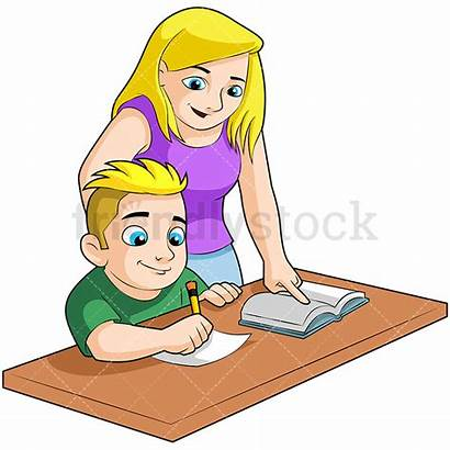 Homework Mom Boy Clipart Doing Cartoon Mother