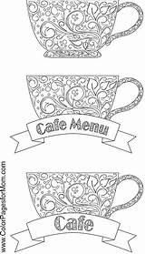 Coloring Coffee Tea Cafe Adult Adults Colorpagesformom Wine Drinks Printable Colouring Sheets Cup Cups Kawaii Doodles Du Etiquetas sketch template
