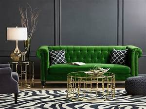 Styling around a statement sofa home decorating blog for Green velvet sofa for your modern living room