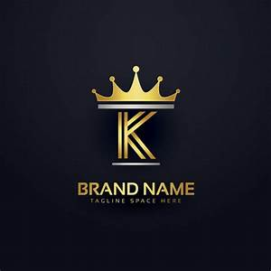 Letter k logo with golden crown Vector | Free Download