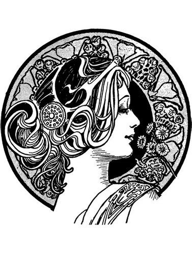 Visage art nouveau - Art Nouveau Adult Coloring Pages