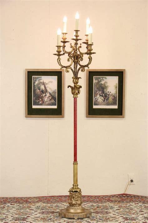 sold bronze  candle antique candelabra floor lamp