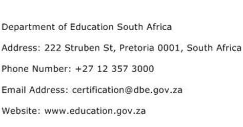 department of education phone number department of education south africa address contact