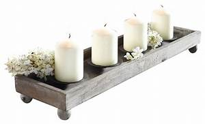 """21"""" Antique Finish Wood Tray with Four Metal Candle"""