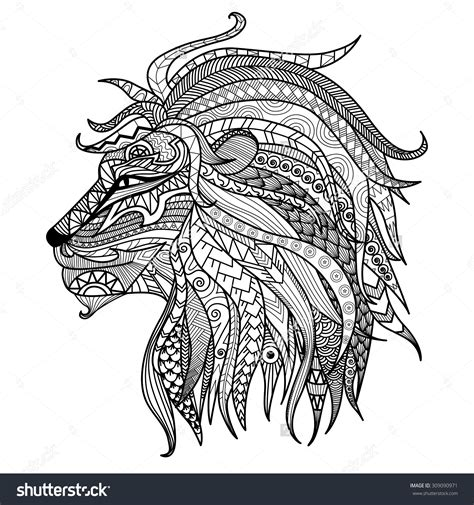 Hand Drawn Lion Coloring Page Stock Vector Illustration
