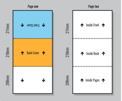 a4 half fold card template series of measurements for templates of various size folds