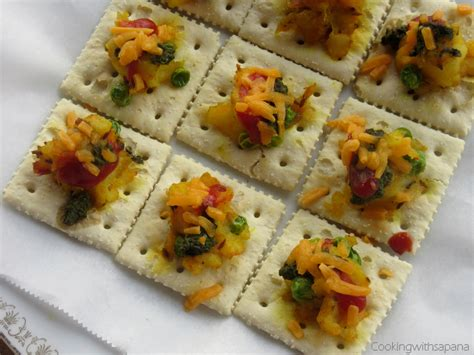 canape made saltine crackers canapes with potato peas topping