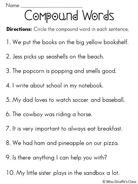 compound words compound words sentences  worksheets